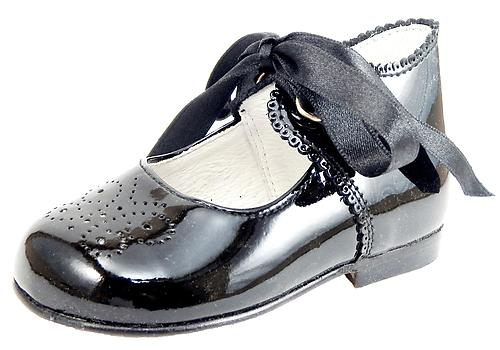 A-486 - Black Patent Ribbon Shoes