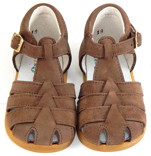 A-7015 - Brown Nubuck Leather Sandals