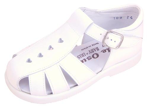 55ce3f452 DE OSU B-109 - Toddler Girls  Classic European White Patent Leather  Fisherman Sandals