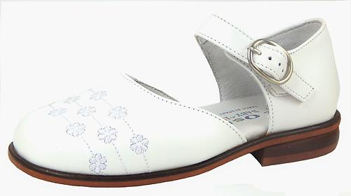 B-6321 - White Embroidered Dress Shoes