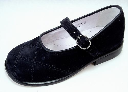B-6711 - Black Nubuck Mary Janes