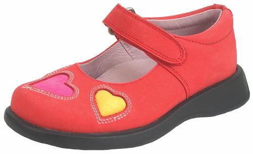 DE OSU B-7724 - Red and Pink Nubuck Leather Mary Janes - EU 24 Size 7