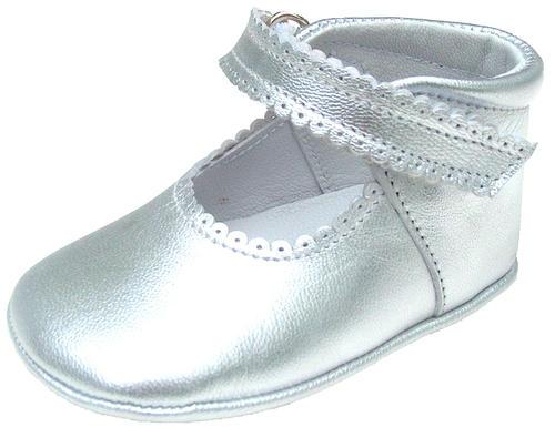 European Silver Leather Dress Crib Shoes