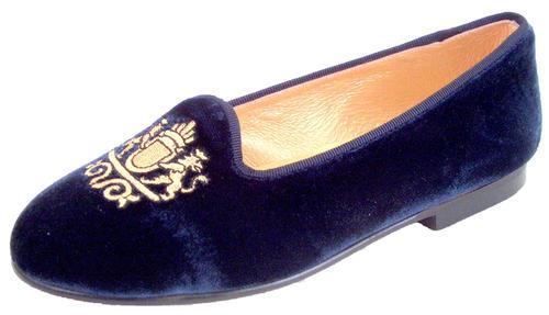 cf8f0e40ab1 DE OSU - Girls Womens Navy Velvet Gold Crest Dress Slipper Shoes P ...