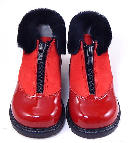 S-6733 - Red Shearling Zipper Boots