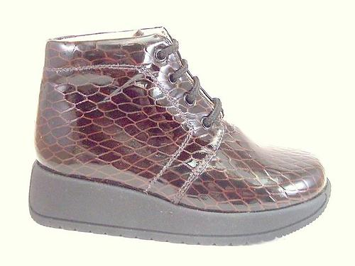 FARO B-213 - Brown Faux-Croc Patent Boots