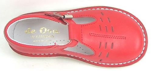DE OSU A-1154 - Red Leather T-Strap