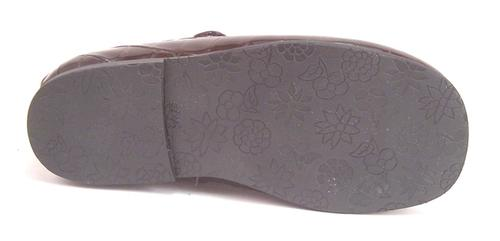 FARO K-277-10D - Brown Faux-Croc Patent Mary Janes