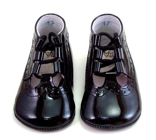 FARO PR-228 - Black Patent Ghillie Crib Shoes